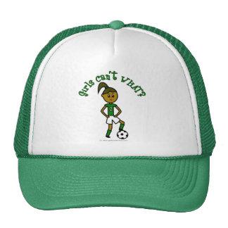 Dark Girls Soccer in Green Uniform Trucker Hat