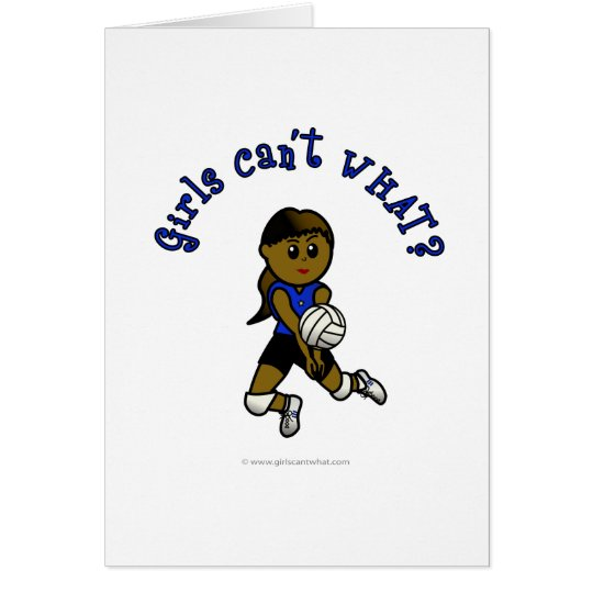 Dark Girls Volleyball in Blue Uniform Card