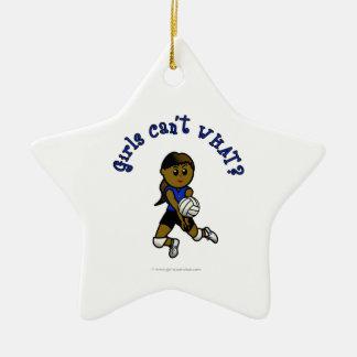 Dark Girls Volleyball in Blue Uniform Christmas Tree Ornament