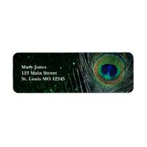 Dark Glittery Green Peacock Label
