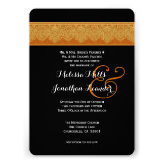 Dark Gold and Black Damask Wedding Template V09 Announcements