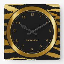 Dark Gold and Black Zebra Stripe Print Square Wall Clock