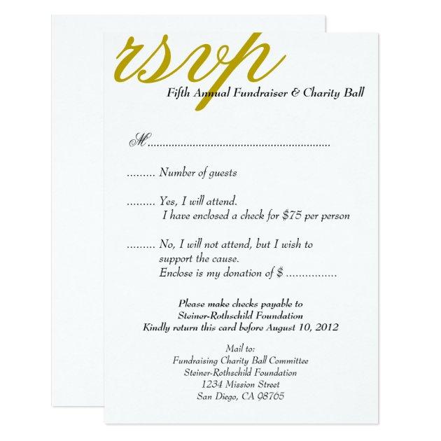 Dark gold gala formal event elegant RSVP response Card ...
