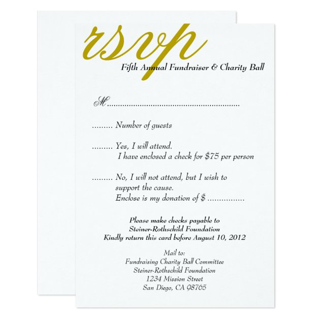dark gold gala formal event elegant rsvp response card