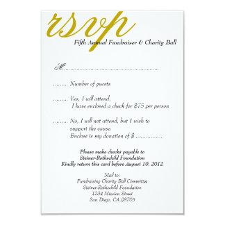 Dark gold gala formal event elegant RSVP response Card