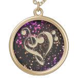 Dark Gold Glitter Music Clef Heart Necklace
