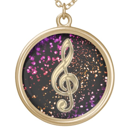 Dark Gold Glitter Music Treble Clef Necklace