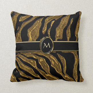 Dark Gold Glitter Tiger Striped Home Decor Throw Pillow