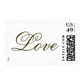 Dark Gold Script Calligraphy Love Wedding Postage