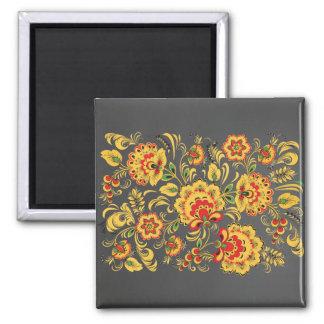 Dark Golden Flowers Hohloma Magnet