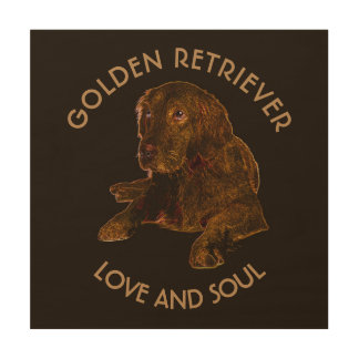 Dark Golden Retriever Dog Wood Wall Art