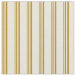 [ Thumbnail: Dark Goldenrod and Beige Colored Striped Pattern Fabric ]