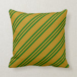 [ Thumbnail: Dark Goldenrod and Dark Green Colored Pattern Throw Pillow ]