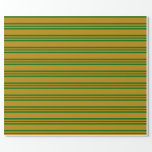 [ Thumbnail: Dark Goldenrod and Dark Green Colored Pattern Wrapping Paper ]