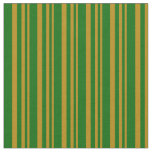 [ Thumbnail: Dark Goldenrod and Dark Green Stripes Fabric ]