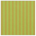 [ Thumbnail: Dark Goldenrod and Green Colored Lined Pattern Fabric ]