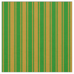 [ Thumbnail: Dark Goldenrod and Green Stripes Pattern Fabric ]