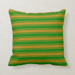 [ Thumbnail: Dark Goldenrod and Green Stripes Pattern Pillow ]