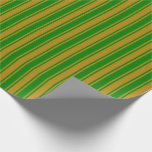 [ Thumbnail: Dark Goldenrod and Green Stripes Pattern Wrapping Paper ]