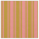 [ Thumbnail: Dark Goldenrod and Light Coral Striped Pattern Fabric ]