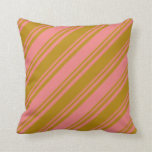 [ Thumbnail: Dark Goldenrod and Light Coral Striped Pattern Throw Pillow ]