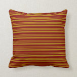[ Thumbnail: Dark Goldenrod and Maroon Stripes/Lines Pattern Throw Pillow ]