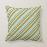 [ Thumbnail: Dark Goldenrod and Powder Blue Pattern Pillow ]