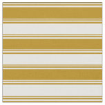 [ Thumbnail: Dark Goldenrod and White Colored Stripes Fabric ]