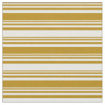 [ Thumbnail: Dark Goldenrod and White Lined/Striped Pattern Fabric ]
