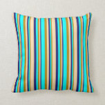 [ Thumbnail: Dark Goldenrod, Aqua, Midnight Blue, and Tan Throw Pillow ]