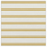 [ Thumbnail: Dark Goldenrod & Beige Stripes Fabric ]