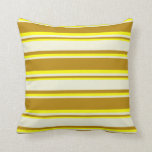 [ Thumbnail: Dark Goldenrod, Beige & Yellow Colored Pattern Throw Pillow ]