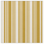 [ Thumbnail: Dark Goldenrod & Bisque Colored Striped Pattern Fabric ]