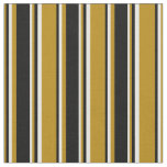 [ Thumbnail: Dark Goldenrod, Black, and White Colored Pattern Fabric ]