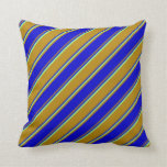 [ Thumbnail: Dark Goldenrod, Blue, and Light Green Lines Pillow ]