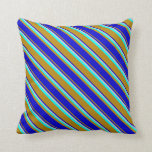 [ Thumbnail: Dark Goldenrod, Blue, Light Gray & Aqua Pattern Throw Pillow ]