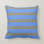 [ Thumbnail: Dark Goldenrod & Cornflower Blue Colored Stripes Throw Pillow ]