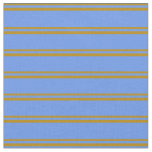 [ Thumbnail: Dark Goldenrod & Cornflower Blue Striped Pattern Fabric ]