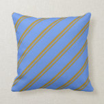 [ Thumbnail: Dark Goldenrod & Cornflower Blue Striped Pattern Throw Pillow ]