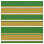 [ Thumbnail: Dark Goldenrod, Dark Green, and Mint Cream Lines Fabric ]
