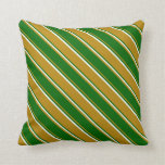 [ Thumbnail: Dark Goldenrod, Dark Green, and Mint Cream Lines Throw Pillow ]