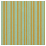 [ Thumbnail: Dark Goldenrod & Dark Sea Green Colored Pattern Fabric ]