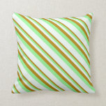 [ Thumbnail: Dark Goldenrod, Green, and Mint Cream Pattern Throw Pillow ]