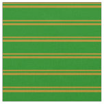 [ Thumbnail: Dark Goldenrod & Green Stripes/Lines Pattern Fabric ]