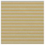 [ Thumbnail: Dark Goldenrod & Grey Stripes Fabric ]