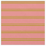 [ Thumbnail: Dark Goldenrod & Light Coral Pattern of Stripes Fabric ]