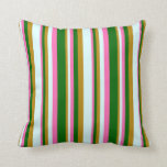 [ Thumbnail: Dark Goldenrod, Light Cyan, Hot Pink & Dark Green Throw Pillow ]