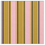 [ Thumbnail: Dark Goldenrod, Light Pink, and Black Pattern Fabric ]