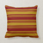 [ Thumbnail: Dark Goldenrod & Maroon Colored Pattern Pillow ]