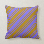 [ Thumbnail: Dark Goldenrod & Medium Slate Blue Colored Lines Throw Pillow ]
